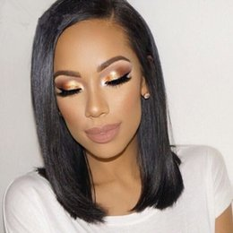 Wholesale Short Bobbed Hairstyles - Short Bob Wigs For Selling 7A Grade Peruvian Straight Human Hair Wigs, Lace Front Wigs Human Hair With Baby Hair