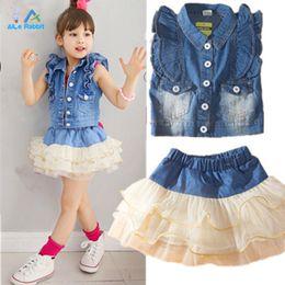 Wholesale Tutus Denim Jacket - Wholesale- 2015 new arrival girls' suits denim jacket + tutu skirt suit 2pcs set coat suit princess party fashion denim clothing