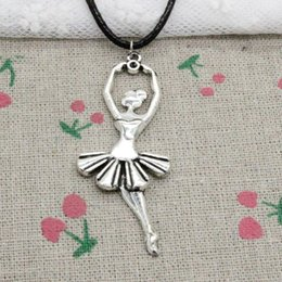 Wholesale Silver Charm Ballet - New Fashion Antique Silver Charms ballet dancer ballerina 61*24mm Pendant Blacker Leather Cord Hand Made DIY Fashion Necklace Jewlery