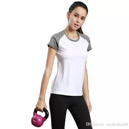 Wholesale Clothes Women Shorts - Light running T-shirt female sports fitness short-sleeved round neck yoga clothing reflective strip rotten shoulder sleeve hit color