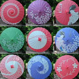 Wholesale Japanese Umbrella Wholesale - 84cm 33inch New Adult Size Long-straight Traditional Japanese Paper Umbrellas Wedding Souvenir Parasol Free Shipping ZA4246