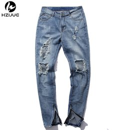 Wholesale Designer Jumpsuit - Wholesale- HZIJUE hip hop pants kanye mens jumpsuit frazzle fashion designer brand zipper light blue skinny distressed jeans men ripped s