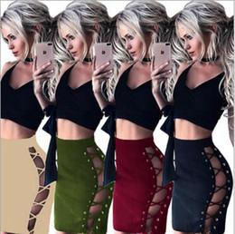 Wholesale Strap Tight Skirts - 4 Colors Woman Package Hip Short Skirt 2017 Summer Woman Fashion Sexy Tight Chicken Eye Buckle Cross Straps Bandage Hollow Bodycon Skirt