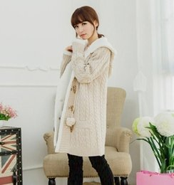 Wholesale Women Beige Coat Cashmere - Wholesale- Christmas long section of cashmere knit thickened Korean large cap code twist sweater cardigan coat winter