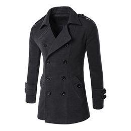 Wholesale Trench Coat Long Men Xxl - Wholesale- mens overcoat trench coat men British Style Cashmere Trench Coat Autumn Wool Jacket Windbreaker Men Overcoat Casacos M-XXL DM#