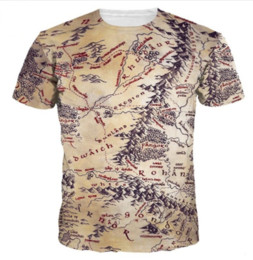Wholesale Middle Earth - Newest Fashion Mens Womans The Middle Earth World Map T-Shirt Summer Style Funny 3D Print Casual T-Shirt Tops Plus Size AA208