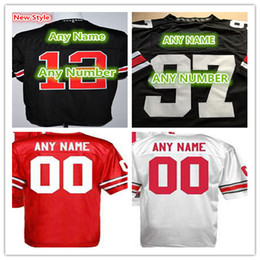 Wholesale Good Football Jerseys - 100% Stitched Personalized Custom Any Name Any Number Ohio State Buckeyes College Rugby Football Jerseys Red White Black Good Quality