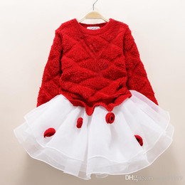 Wholesale Kids Ball Gown Red - fashion new autumn winter girl dress warm dress baby kids clothing