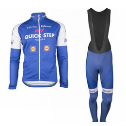 Wholesale Uci Winter Jersey - 2017 winter thermal fleece uci pro team quick step floors cycling jersey long Bicycle ropa ciclismo men bike cloth bib pants gel pad