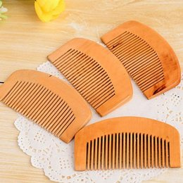 Wholesale Anti Static Hair Brush - Wooden Comb Natural Health Peach Wood Anti-static Health Care Beard Comb Pocket Combs Hairbrush Massager Hair Styling Tool ZA1752