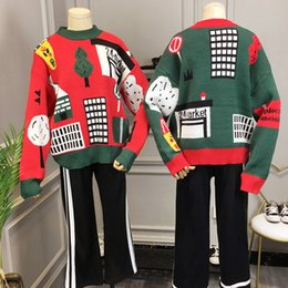 Wholesale Vintage Letter Blocks - Autumn and winter sweater outerwear color block green vintage loose turtleneck sweater female thick pullover sweaters