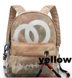 Wholesale Denim Canvas Bags - Free shipping bag 2018 graffiti denim rucksack catwalk canvas bag backpack outdoor leisure sports bag multicolor choice