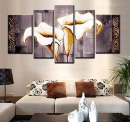 Wholesale Large Fashion Painting - Framed 5 Panel Large Hand-painted Modern Flower Canvas Oil Painting Set Grey Calla Lily Home Living Room Decor Wall Art Picture AMP9