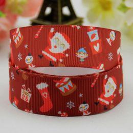 Wholesale Grosgrain Printed Ribbon 9mm - 9mm 16mm 22mm 26mm Merry Christmas Grosgrain Ribbons Santa Claus Deer Snowman Printed Hair Bow Grosgrain Jewelry Accessories DIY Craft