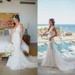 Wholesale Column Style Lace Wedding Dress - 2017 Real Photos Boho Garden Beach Sheath Wedding Dresses Full Lace Court Train Sexy V Neck Country Style Bridal Gown Vestido Custom Made