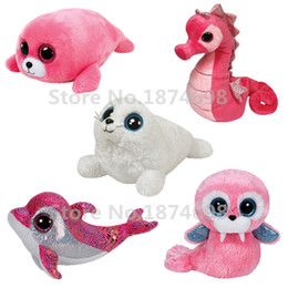 Wholesale Wholesale Pink Dolphin Beanies - Wholesale- TY Beanie Boos White Seal Pink Seal Walrus Dolphin Seahorse Cute Big Eyes Plush Stuffed Animals Toys Children Kids Girls Gifts