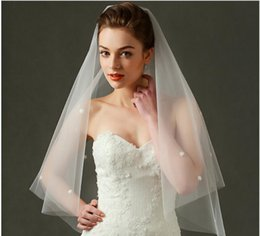 Wholesale One Layer Drop Veil - High quality Bridal Veils with Pearls Wedding Dress Bridal Gown One Layers Without Comb 110*150cm 1pcs drop ship