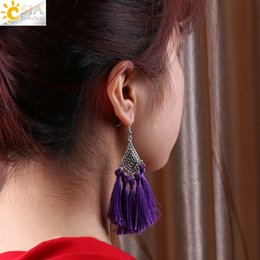 Wholesale Chinese Jade Tassels - CSJA Ethnic Women Drop Earrings Flower Charms Long Silk Fringed Tassel Pendant Knot Chinese Wind Handmade Boho DIY Jewelry E522