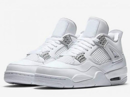 Wholesale Retro 4s - New Retro 4 Pure Money Basketball Shoes Men 4s Pure Money White And Silver Athletics Sneakers With Shoes Box
