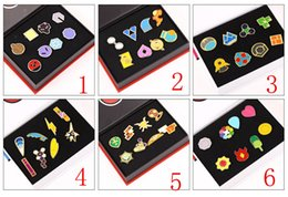 Wholesale Pokemon Boxes - 6 Style Zinic Alloy Brooch poke Action Figures Anime 8pcs set with box toy Children Poke Metal Badge Brooch toys