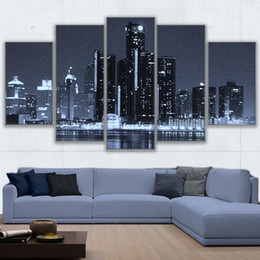 gerahmte gemälde für zu hause Rabatt Moderne poster auf leinwand wandkunst rahmen home decor 5 stück landschaftlich detroit stadtbild gemälde modulare nachtlandschaft bilder
