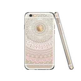 Wholesale Drawing Pattern Case - For Iphone 7 plus TPU Mandala Flower Drawing Pattern Clear Phone Case Cover For Iphone 6s 6 plus 5 5s SE Opp Bag