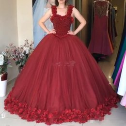 Wholesale Dress Jacket For Little Girl - Dark Red Ball Gown Evening Dresses Beading with 3D Flowers Spaghetti 2017 Plus Size Gowns for Prom Cheap Sweet 16 Girls Quinceanera Dresses