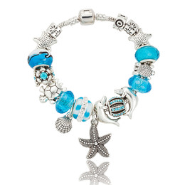 Wholesale Tortoise Charm Gold - Wholesale- European Fashion Blue Ocean Style Glass Charms Bracelets Silver Plated Tortoise Beads Bracelets & Bangles DIY Jewelry P15409