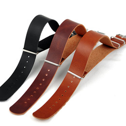 Wholesale Nato Leather Strap - Wholesale- New Arrived 20MM black brown PU Leather watch band waterproof Straps, casual NATO wrist watchband long