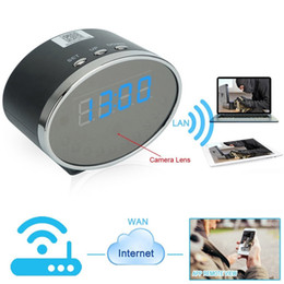 Wholesale Ip Camera Pixel - NEW Wifi 1080P Panda Digital Alarm Clock P2P Camera Motion Detection Clock IP DVR 5.0M Pixels Mini Clock Cam