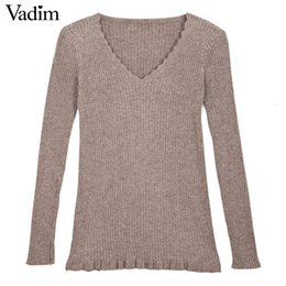 Wholesale Elastic Items - Wholesale- Women V neck ruffles sweaters elastic long sleeve must have items basic sweet autumn winter warm pullover casual tops ZC062