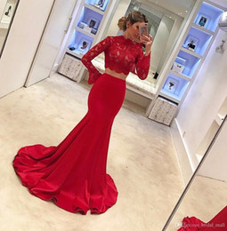 Wholesale Trendy Sheer Wedding Dress - Trendy High neck two pieces prom dresses lace appliques Red mermaid evening dress with long sleeves vestido de festa