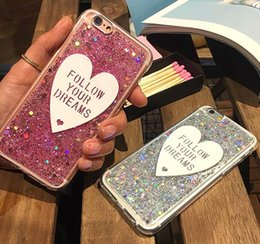 Wholesale Diamond Bling Heart Iphone - Fashion Luxury Love heart pink Glitter case For iphone 5 5S 6 6s 6plus 7 8 plus X bling Diamond Soft TPU silicone clear phone case cover