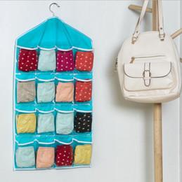 Wholesale Hanging Sock Organizer - Organizer Bags Hanging Storage Bag Multifunction Bedroom Wall Door Closet Hanging Clear Socks Cosmetic Underwear Sorting DHL Free Shipping