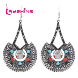 Wholesale Ethnic Charms Beads - Vintage Accessories Boho Ethnic Earrings Antique Gold Silver With Red Black Beads Fan Shape Big Statement Earring for Women