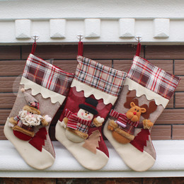 Wholesale Xmas Bags - 15 Styles New Arrival 2017 Christmas Stockings Decor Ornament Party Decorations Santa Christmas Stocking Candy Socks Bags Xmas Gifts Bag DHL
