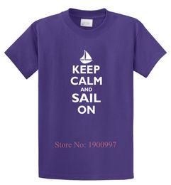Wholesale Sail T Shirt - Keep Calm & Sail On Funny T Shirt Sailor Boating Summer Gift Unisex Tee Shirt