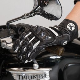 Wholesale Women S White Leather Gloves - 2017 Summer New ROCK BIKER Motorcycle Racer Knight Gloves Motorbike Ride Dismounted glove made of leather carbon fiber 4 colors 5 size