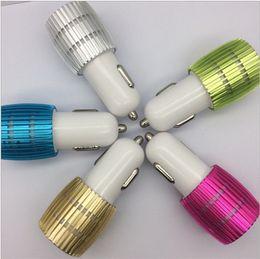 Wholesale led light micro usb charger - Dual USB Car Charger Blue Light LED Aluminium Alloy Metal Adaptor for Smart phone 100pcs lot