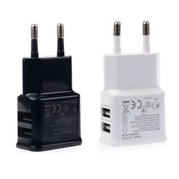 Wholesale Galaxy Tab Eu Charger - Universal Dual USB EU Plug 5V 2A Wall Travel Power Charger Adapter for iPhone 5 6 6S Plus HTC Samsung Galaxy Tabs S6 S4 Android Smart Phones