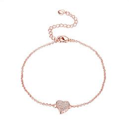 chaîne bracelet en diamant Promotion Exquis Rose Or Plaqué En Laiton Lien Chaîne Prong Cadre CZ Cristal Pendentif Coeur Bracelet pour les Femmes Livraison Gratuite