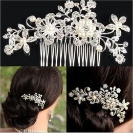 Wholesale Wholesale Wedding Hair Pieces - Elegant Silver Wedding Bridal Hair Comb Pearl Crystal Flower Hair Clip Side Comb Pin Bridal Head piece Wedding Hair Jewelry Accessories