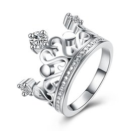 Wholesale Sterling Silver Code 925 - Free shipping Wholesale 925 Sterling Silver Plated Fashion Inlaid stone crown ring -8 code Jewelry LKNSPCR034-8