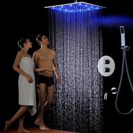 """16 """"pomme de douche moderne brossé définit mitigeur thermostatique vanne carré LED pluie SPA luxe salle de bain robinet avec bras pour baignoire T 161222 # ? partir de fabricateur"""