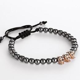 Wholesale Skull Macrame Bracelet - Wholesale-Men girl Bracelets 24K Gold Plated Skull beads & 6mm Titanium Steel Beads skull Buddha Black Rope Braiding Men Macrame Bracelet