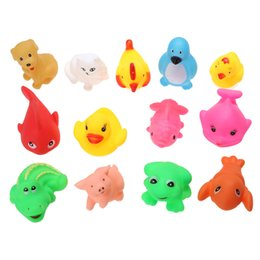 Wholesale Funny Baby Sounds - Wholesale- 13Pcs set Cute Baby Bath Toys Soft Rubber Float Squeeze Sound Baby Bath Wash Play Animals Pattern Funny Toy Gift for Babies