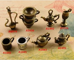 Wholesale Retro Silver Tone - DIY handmade ancient bronze jewelry accessories ZAKKA retro stereo metal 3D teapot charms, tibetan silver tone small baby cup Goblet pendant