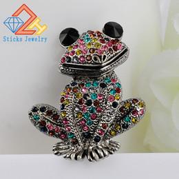 Wholesale Good Fashion Jewelry - Sticks Jewelry Cute Animal Brooch Mixed Color Rhinestone Wedding Brooch Female Frog Fashion Jewelry Good Gift