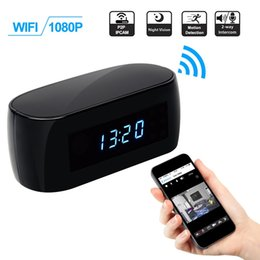 Wholesale Motion Activated Spy Camera Clock - WIFI Hidden Clock Camera HD 1080P Nanny Cam Wireless IPCAM Motion Activated Spy Security Camera with Night Vision Support IOS Android