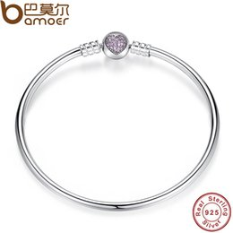 Wholesale Sterling Silver Bangle Fit - Authentic 100% 925 Sterling Silver Snake Chain Heart Bangle & Bracelet fit for Pandora Style Charm Luxury Jewelry